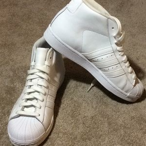 Adidas high top super star pro model sneakers